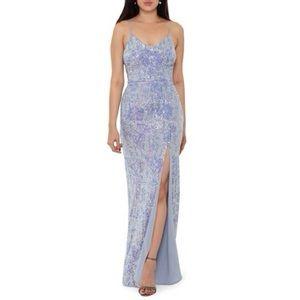 XSCAPE sequin Stripe Slit Gown